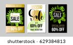 set of summer sale banners ... | Shutterstock .eps vector #629384813