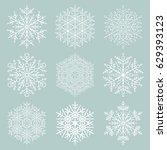 set of vector snowflakes. fine... | Shutterstock .eps vector #629393123