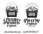 shopping basket with fresh food.... | Shutterstock .eps vector #629394917