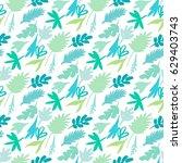 seamless leaves modern pattern | Shutterstock .eps vector #629403743