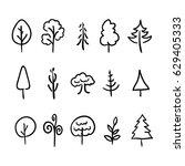 big set of cute hand drawn... | Shutterstock . vector #629405333
