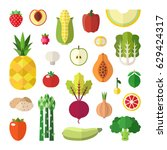 fruit and vegetable flat style... | Shutterstock .eps vector #629424317