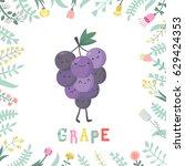 cute cartoon grape illustration ... | Shutterstock .eps vector #629424353