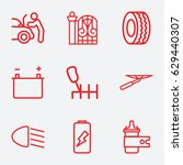 car icon. set of 9 car outline... | Shutterstock .eps vector #629440307
