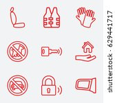 safety icon. set of 9 safety... | Shutterstock .eps vector #629441717