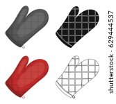 kitchen glove.bbq single icon... | Shutterstock .eps vector #629444537