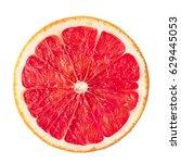 Pink ripe grapefruit slice on...