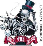 human skeleton wearing top hat... | Shutterstock .eps vector #629447147