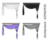 curtains with drapery on the...   Shutterstock .eps vector #629462933