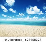 sunny tropical beach and... | Shutterstock . vector #629468327