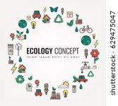 ecology and environment icons.... | Shutterstock .eps vector #629475047