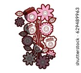 red contour of bouquet of retro ... | Shutterstock .eps vector #629489963