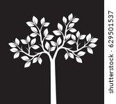 white tree on black background. ... | Shutterstock .eps vector #629501537