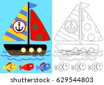 coloring page with sailboat and ... | Shutterstock .eps vector #629544803