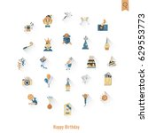 happy birthday icons set.... | Shutterstock .eps vector #629553773