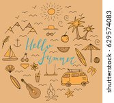 summer round design concept... | Shutterstock .eps vector #629574083