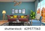 interior living room. 3d... | Shutterstock . vector #629577563
