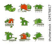 vector set of ecological homes  ... | Shutterstock .eps vector #629578817