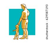 father and small child standing ... | Shutterstock .eps vector #629587193