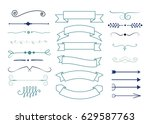 set of hand drawn decorative... | Shutterstock .eps vector #629587763
