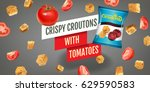 crispy croutons ads. vector... | Shutterstock .eps vector #629590583