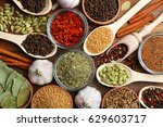 set of different spices on a... | Shutterstock . vector #629603717