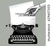 woman's hand cutting a paper... | Shutterstock . vector #629607353