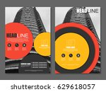 red and yellow flyer  corporate ... | Shutterstock .eps vector #629618057