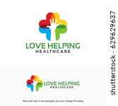 colorful love helping  care ... | Shutterstock .eps vector #629629637
