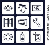 service icon. set of 9 outline... | Shutterstock .eps vector #629641223