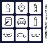 cool icon. set of 9 outline... | Shutterstock .eps vector #629645483