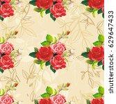 seamless floral pattern rose...   Shutterstock .eps vector #629647433