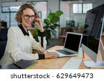 woman talking on mobile phone... | Shutterstock . vector #629649473