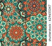seamless mandala pattern for... | Shutterstock .eps vector #629655347