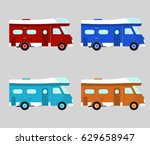 camper car isolated | Shutterstock .eps vector #629658947