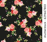 seamless floral pattern three...   Shutterstock .eps vector #629667803