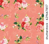 seamless floral pattern three... | Shutterstock .eps vector #629667857