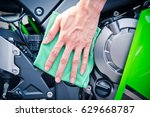 hand with man cleaning... | Shutterstock . vector #629668787