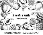 vector frame with fruits and... | Shutterstock .eps vector #629668997