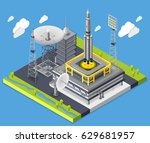 rocket isometric composition... | Shutterstock .eps vector #629681957