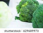 pure fresh broccoli prepared... | Shutterstock . vector #629689973