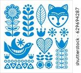 finnish inspired folk art... | Shutterstock .eps vector #629694287