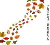 leaves icon. autumn season... | Shutterstock .eps vector #629696843