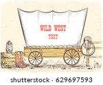 Wild West Wagon.vector Hand...