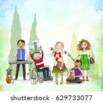group of children  including... | Shutterstock . vector #629733077