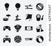 fun icon. set of 16 fun filled... | Shutterstock .eps vector #629744147