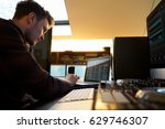 young man composing music on... | Shutterstock . vector #629746307