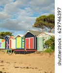 colourful bathing boxes on... | Shutterstock . vector #629746397