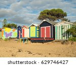 colourful bathing boxes on... | Shutterstock . vector #629746427