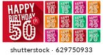 set of happy birthday cards. | Shutterstock .eps vector #629750933